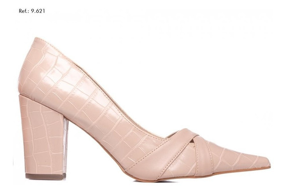 Sapatos Femininos Scarpin Fino Festa Torricella Croco Rosé