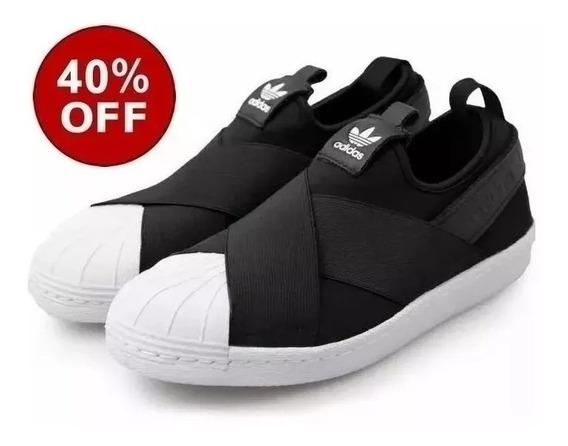 Tênis adidas Slip On Superstar Importado Unissex Cor Preto