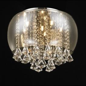 Plafon Cristal Vidro Ambar 40cm 6 Lampadas +luz
