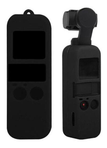 Capa Case Em Silicone Preto + Cordão Para Dji Osmo Pocket