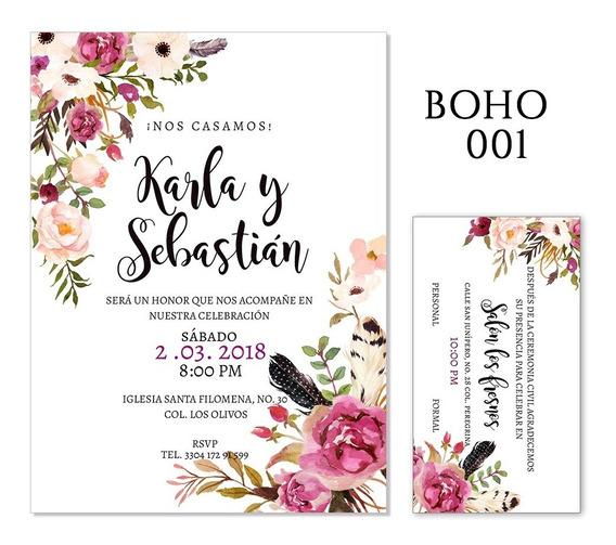 25 Invitaciones - Florales Boho - Bodas, Xv Años, Etc.