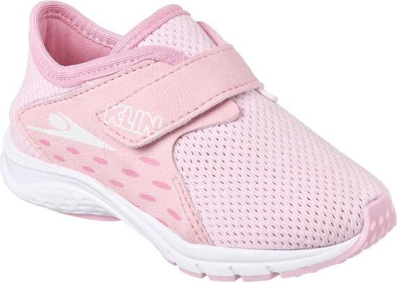 Tênis Klin Baby Genesis Infantil Bebê Menina Rosa Velcro