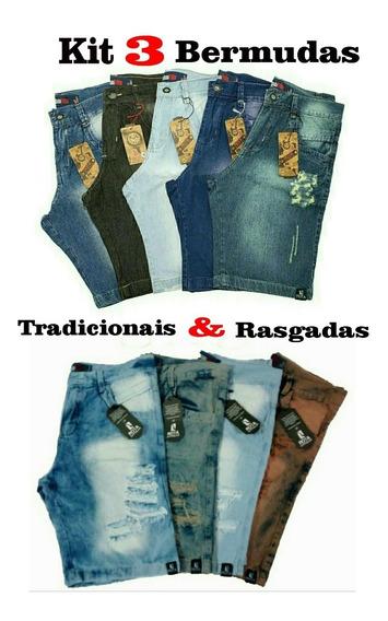 Kit Com 3 Bermudas Masculina Short Jeans Bonitos E Baratos