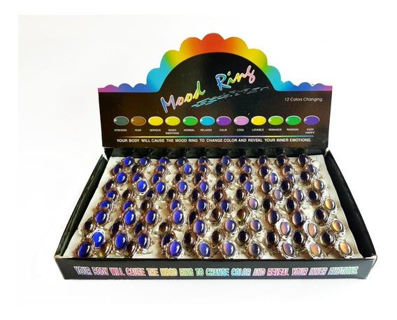 Lote Caja 100 Anillos Del Humor Ajustables Cambian De Color
