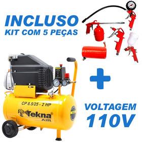 Compressor 8 Pés 24 Litros 2hp  Tekna 127v + Kit Pintura