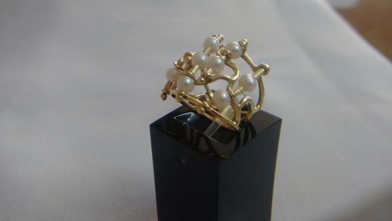Anel Vasado Em Ouro E Pérolas