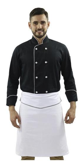 Jaqueta Chef Masculino Doma Preto Avental Meio Corpo Branco