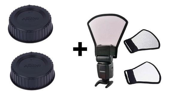Kit 2 Tampa Lente Nikon Lf-4 + Rebatedor P/ Flash