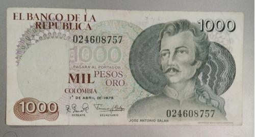 Imagen 1 de 3 de   Billete Antiguo Colombiano 1000 Pesos Galan Año 1979 Bueno