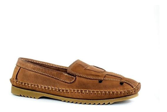 Sapato Masculino Mocassim Solado De Borracha Couro Preto