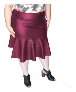 Saia Evangelica Midi Babado Sino Flare Moda Plus Size 2019