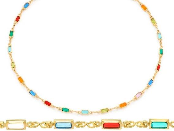 Colar Feminino Com Pedras Coloridas Banhado A Ouro Semijoias