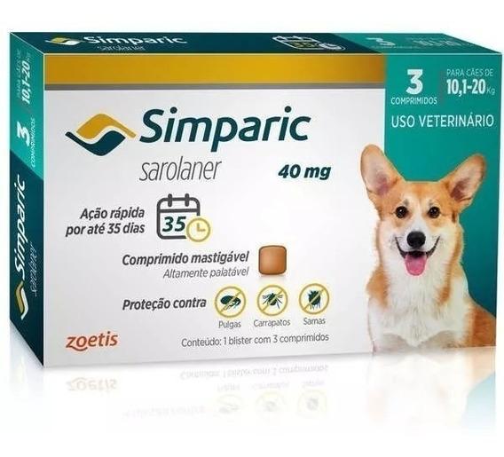 Combo Simparic 40 Mg 10 A 20 Kg Original 3 Comprimidos