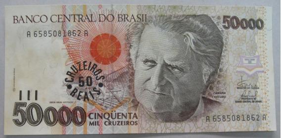 C234: Bela Cédula De 50 Cruzeiros Reis 1993 Fe Lm