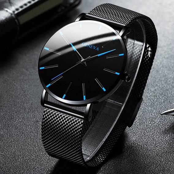 Relógio De Pulso Ultra Fino Inoxidável Luxuoso Geneva