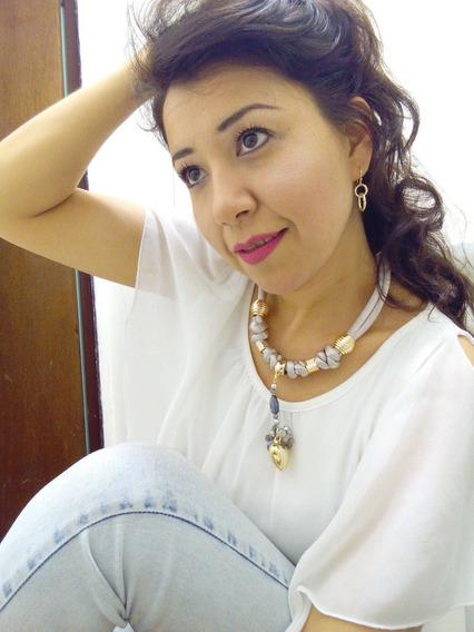 C154 Collar Artesanal Mexicano Trenzado Serpiente Gris