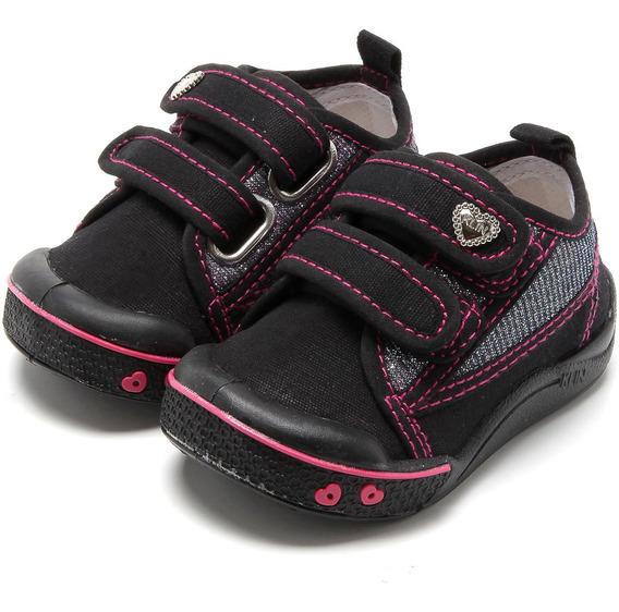 Tênis Infantil Klin Toy Jeans Feminino - Preto/pink