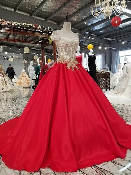 Vestido Xv Años Rojo Hecho A Tu Medida Alw-181207002