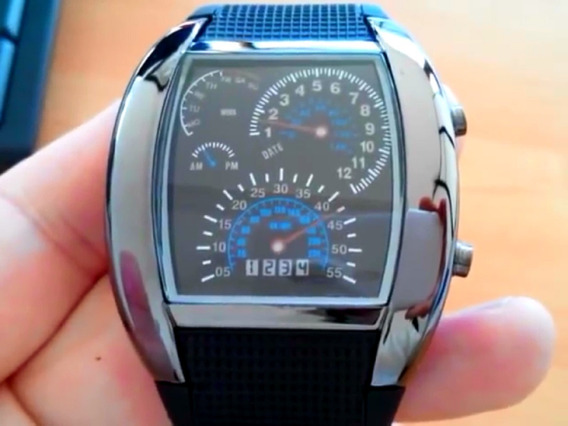 Relógio Digital Binário Led Azul Estilo Velocímetro Elegante