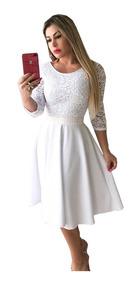 Vestido Midi De Noiva Manga 3/4 Casamento Civil Cinto Brind