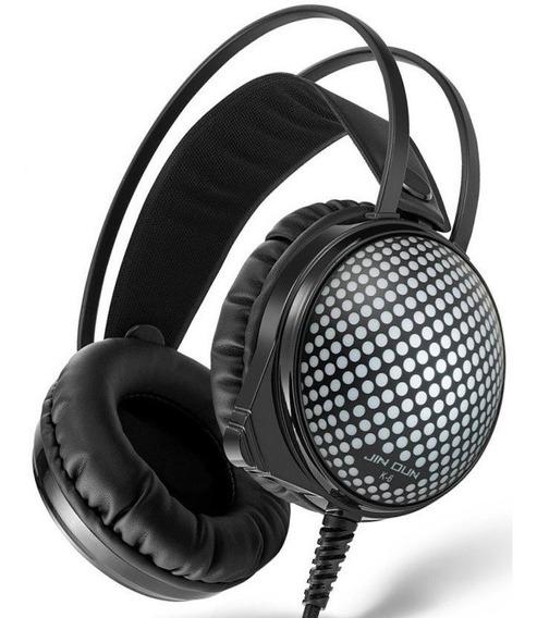 Headset Gamer Led Jin Dun Headset Barato + Adaptador Brinde