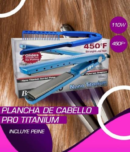 Plancha De Cabello Pro Titanium + Peine Original De Calidad