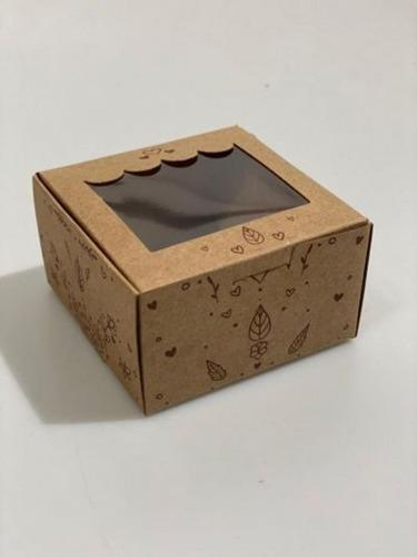 Embalagem Kraft C/ Visor P/ Brownie/doces Floral -10unidades