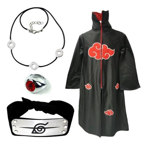 Imagen 1 de 10 de Naruto Cosplay Capa + Anillo + Banda + Collar Clan Akatsuki