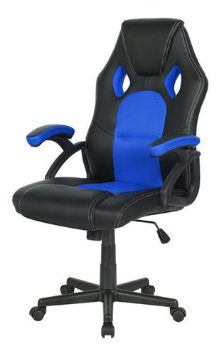 Imagen 1 de 1 de Silla de escritorio Desillas pro gamer momentum gamer ergonómica  negra y azul con tapizado de cuero sintético y mesh