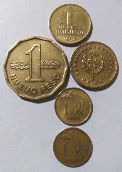 Lote 5 Monedas Uruguay $1 Y N$1 1965/1968/1969/1976 Y 1994