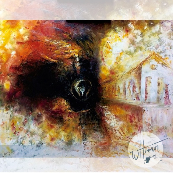Óleo Sobre Tela Maria Fumaça Pintado A Mão 1.00m X 80cm