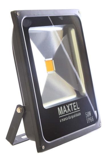 Kit 02 Refletor Led Holofote 50w Maxtel Bivolt Branco Frio
