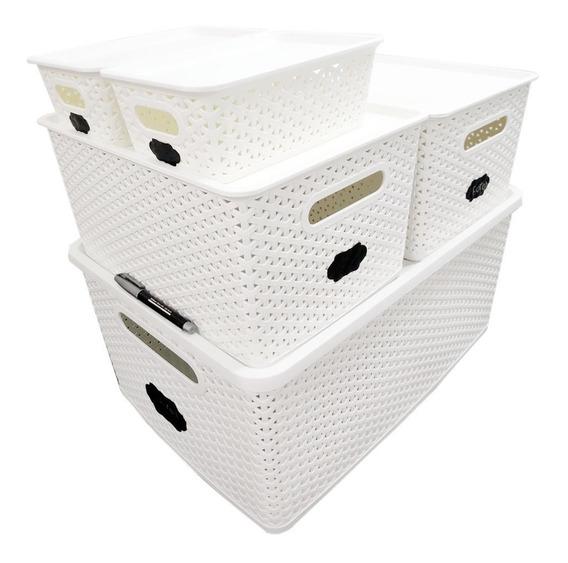 Kit 1 Caixa Organizadora Rattan 35l + 2 Cxs. 15l + 2 Cxs. 7l