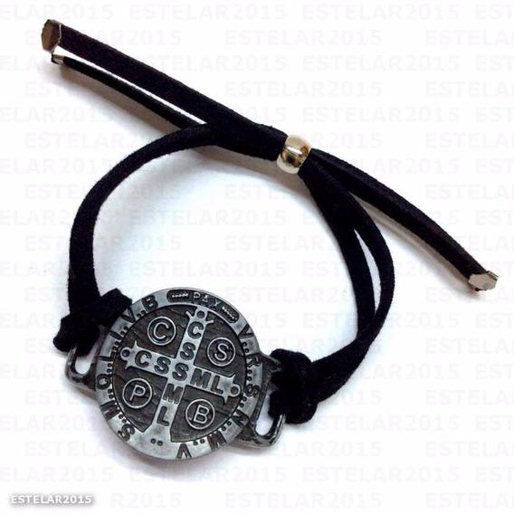 Pulseira Medalha São Bento Ajustável Couro Camurça Metal