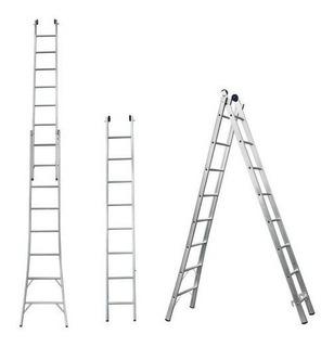 Escada Extensível Alumínio Dupla 2x10 Degraus Alulev
