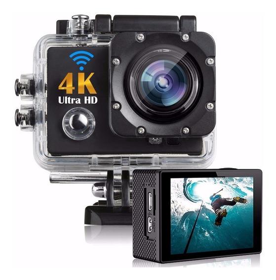 Camera 4k Filmadora Prova D` Água Wifi Capacete Video Hd