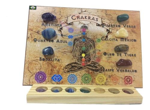 Kit 7 Pedras Dos Chakras Pedras Brasileiras Quadro Reiki