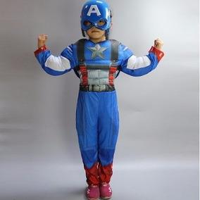Fantasia Infantil Capitão América Músculo, Máscara E Escudo