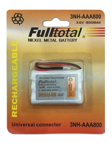 Bateria Inalambrico Fulltotal 3nh-aaa800 3.6v 800mah