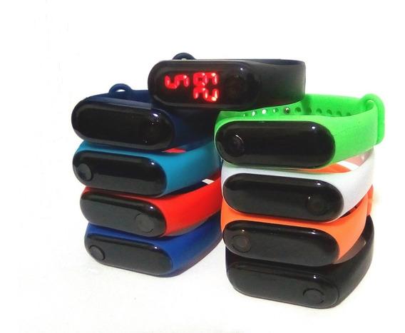 Kit C/ 5 Relógios Pulseira Digital Led Várias Cores