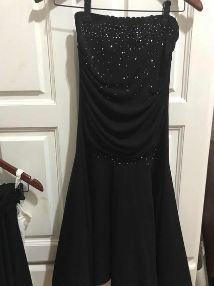 Vestido De Fiesta Negro Con Strass