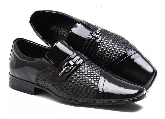 Sapato Masculino Social Verniz Versales+carteira+cinto+meia