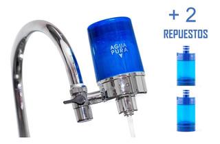 Filtro Purificador Agua Llave Aquaeoz + 2 Cartuchos Repuesto