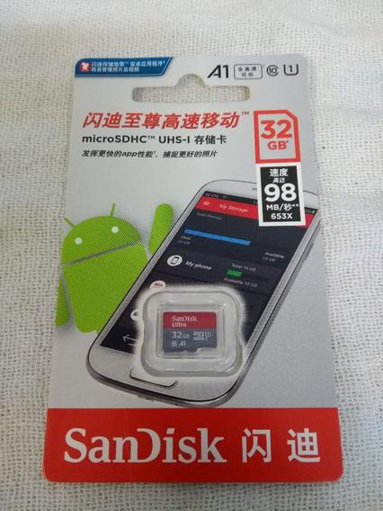 Cartão De Memória Sandisk 32 Gb A1 98 Mb/s Lacrado Original