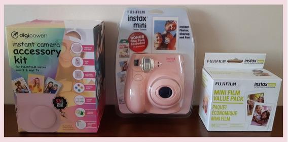 Kit Câmera Instax Mini Rosa - Câmera + Refil + Acessórios