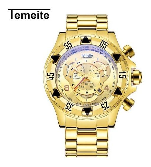 Relogio Masculino De Luxo Temeite Dourado Grande 020g
