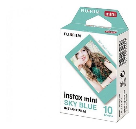 Filme Instax Mini Sky Blue C/ 10 Fotos Fujifilm Moldura Azul