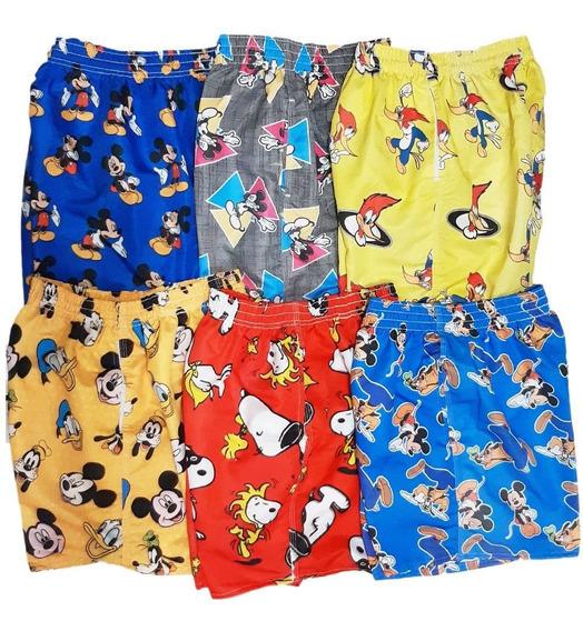 Shorts Desenhos Animados Kit 05 Und Florais Mauricinho Praia