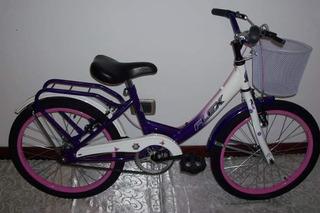 Bicicleta Paseo Rodado 20 Nena Flex Canasto Y Portaequipaje