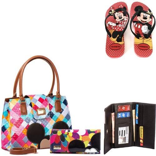 Bolsa Feminina Kit Com 3 Peças Bolsa Com Carteira + Chinelo